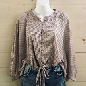 {uo} silky speckled button down semi cropped shirt